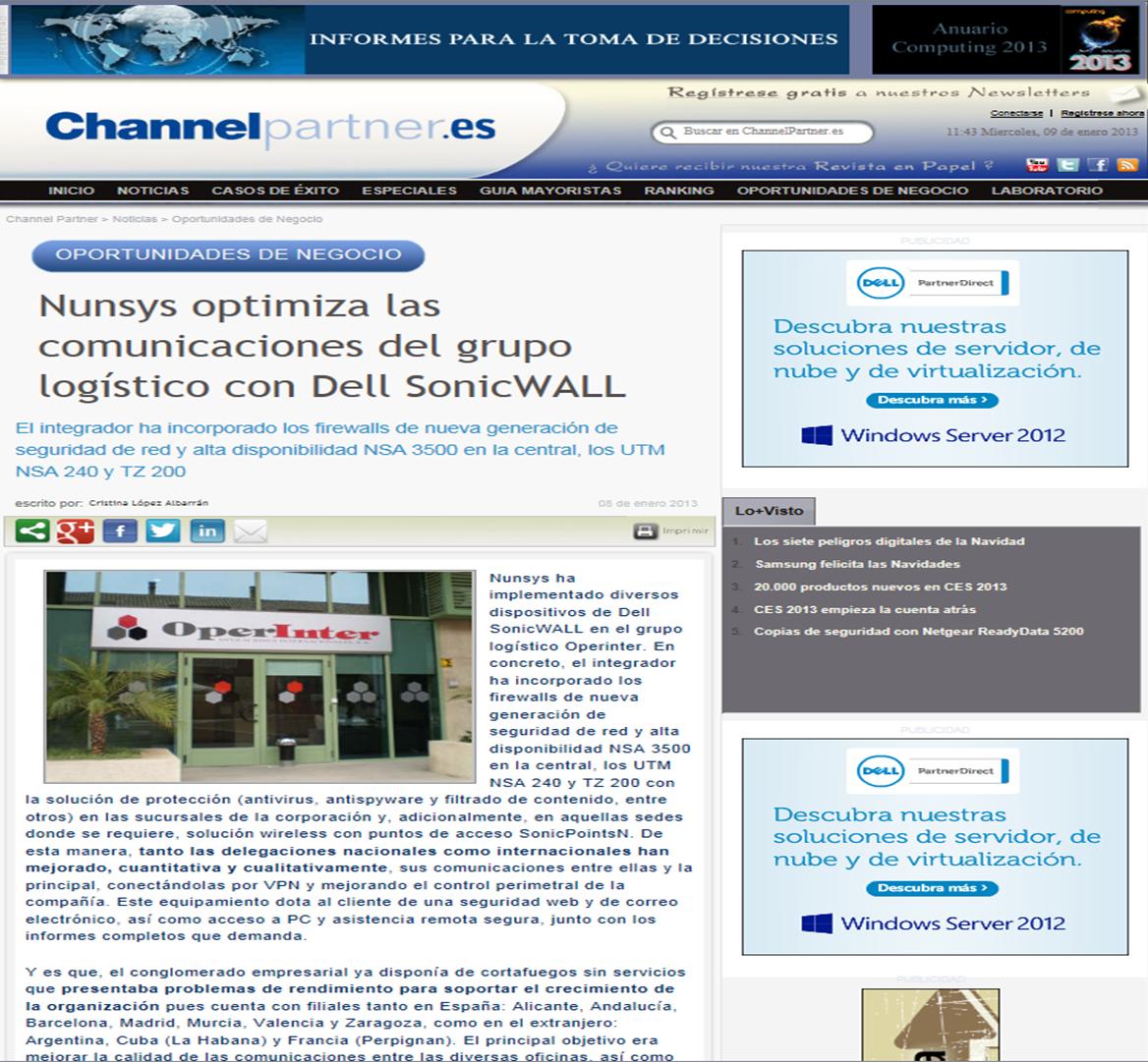 """NUNSYS optimiza las comunicaciones del grupo logístico Operinter"""