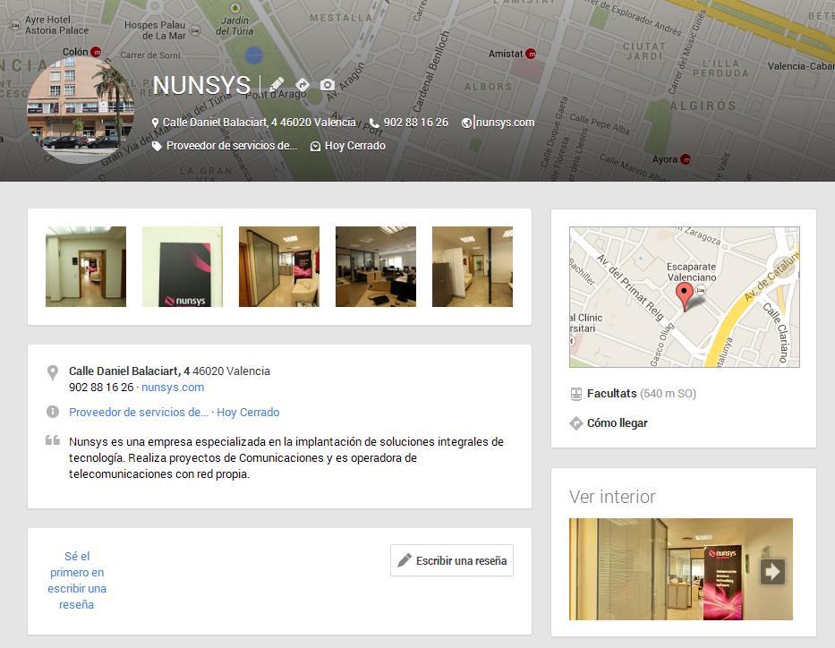 Nunsys en Google Plus con recorrido