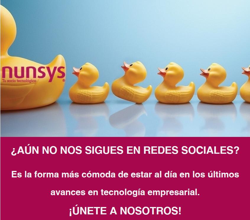 """Imagen del contenido web de la campaña """"Síguenos"""" en redes de Nunsys"""