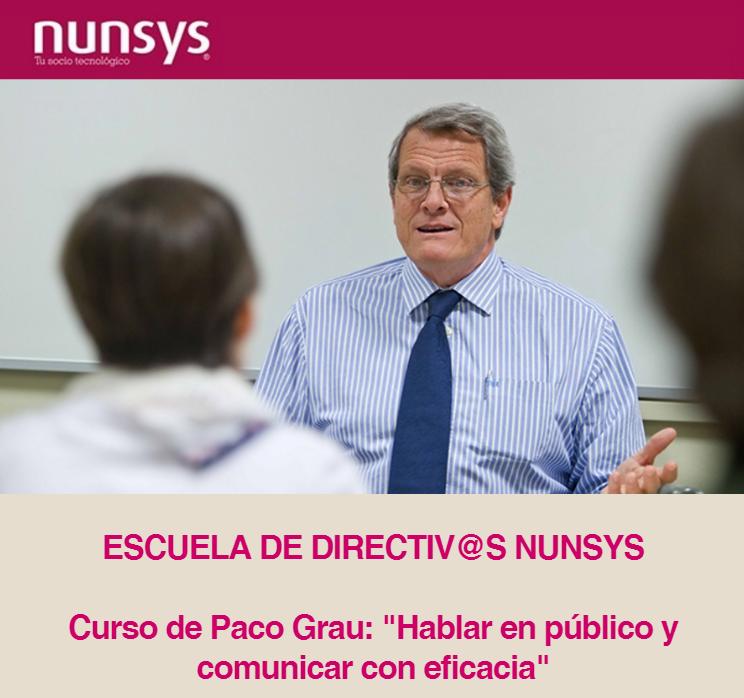 Imagen de la cabecera del Curso de Hablar en Público y comunicar con eficacia de Nunsys & Paco Grau