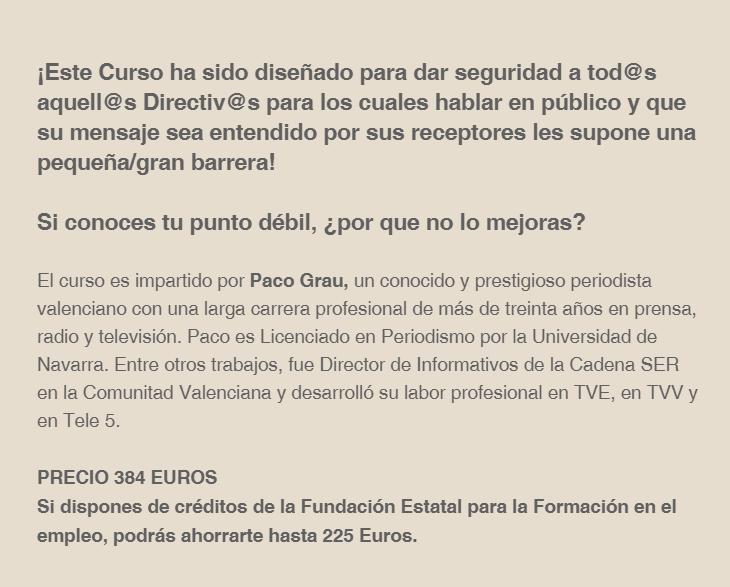 Imagen del cuerpo de la noticia del curso de Nunsys & Paco Grau sobre: Como hablar en Público y comunicar con Eficacia