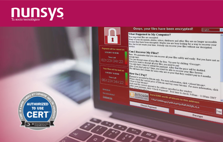 "Nunsys CERT, lucha contra ciberataques Ransomware ""WannaCry"""